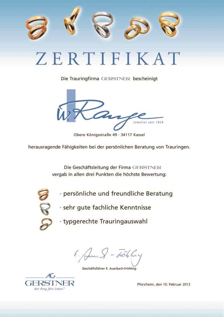 zertifikat der Firma Gerstner - wir sind zertifizierte Trauringberater.