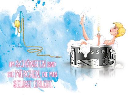 Rapunzel in Grimmringbadewanne mit Kurzhaarschnitt und Sektglas